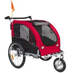 HPD 2 in 1 Pet Dog Bicycle Trailer Stroller Jogging with Sus