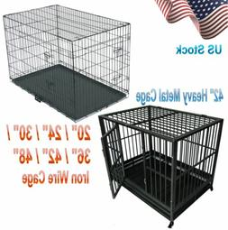 "20/24/30/36/42/48"" Pet Kennel Cat Dog Folding Cage Crate Wir"
