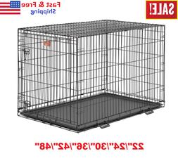 """22""""-48"""" Midwest iCrate Dog Crate Kennel Folding Metal Pet Ca"""