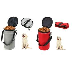 2x Portable Cat Dog Food Carrier Storage Bag Container Bowl