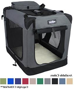 EliteField 3-Door Folding Soft Dog Crate, Indoor & Outdoor P