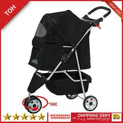 3 Wheel Stroller Travel Folding Carrier Pet Stroller Cat Dog