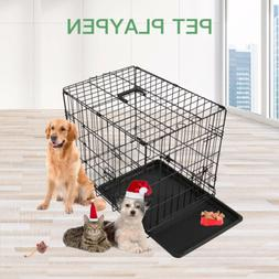 36'' Black Dog Cage Large Puppy Pet Training Carrier Folding