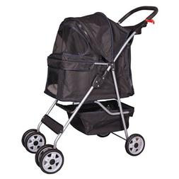 4 Wheels Pet Stroller Cat Dog Cage Stroller Travel Folding C