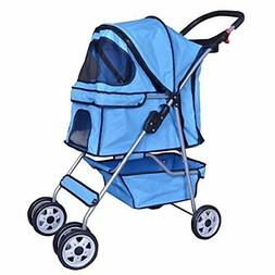 BestPet 4 Wheels Pet Stroller Cat Dog Cage Stroller Travel F