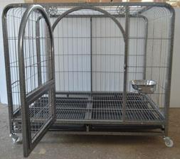 "44"" Mobile Metal Wire Dog Cage Large Pet Carrier Tray House"