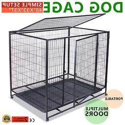 "48"" DOG CRATE KENNEL PET CAGE CARRIER BOX HEAVY DUTY EXERCIS"