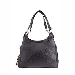 B-JOY Elegant Embossed Leather Purse Carrier Black for Small