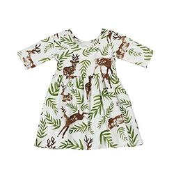 Birdfly Baby Girl Floral Printed T-Shirt Dress Toddler Fun D