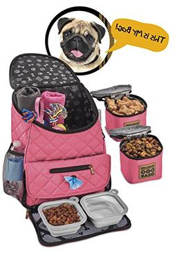 Dog Travel Bag - Deluxe Quilted Weekender Backpack - Include