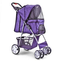 BestPet 4 Wheels Pet Dog Pet Cat Stroller Deluxe Folding for