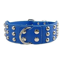 BOSUNBlack Blue Studded Leather 2inch Wide Dog Pet Collars F