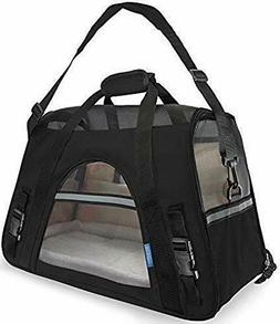 "Black Pet Carrier With Fleece Bed for Dog & Cat 19"" X 10"" X"