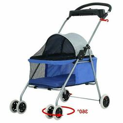 Blue Posh Pet Stroller Dogs Cats w/Cup Holder