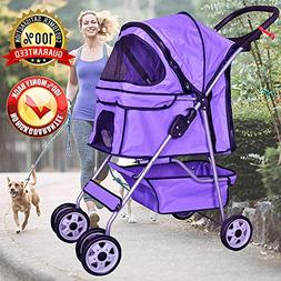 Cat Dog Stroller for Small & Medium Pets Up to 35Lbs Kitten