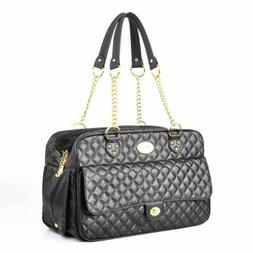 Designer Pet Carrier For Small Dogs Cats Black Diamond Quilt