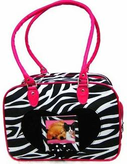 DOG CARRIER Pet CAT TRAVEL ZEBRA Print Pink Puppy Bag Purse