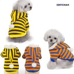Dog clothes Striped Dog Coat Jacket Hoodie Winter soft and w