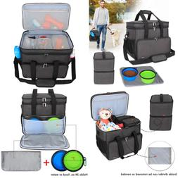 Double Layer Dog Travel Bag W 2 Silicone Collapsible Bowls F