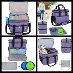 Double Layer Pet Dog Travel Storage Bag 2 Silicone Collapsib