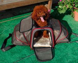 Expandable Pet Carrier For Small Dogs Cats Soft Sided Crate