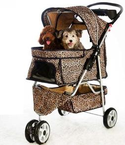 Extra Wide Leopard Skin 3 Wheels Pet Dog Cat Stroller w/ Rai