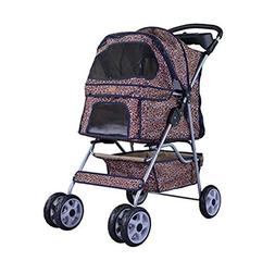 NEW Extra Wide Leopard Skin 4 Wheels Pet Dog Cat Stroller Wi