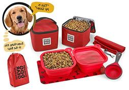 Dog Travel Food Set For Medium + Large Dogs  - 7 Pieces Incl
