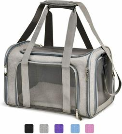 Gray Pet Travel Carrier Mesh Breathable Collapsible Dogs Pup
