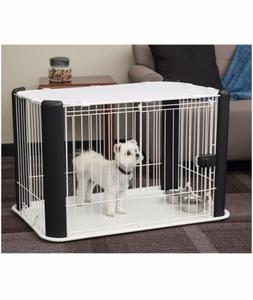 IRIS USA Small Wire Dog Crate with Mesh Roof Black Kennel Ca