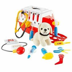 Kids Pet Carrier and Puppy Dog Veterinary Set Pretend Play A