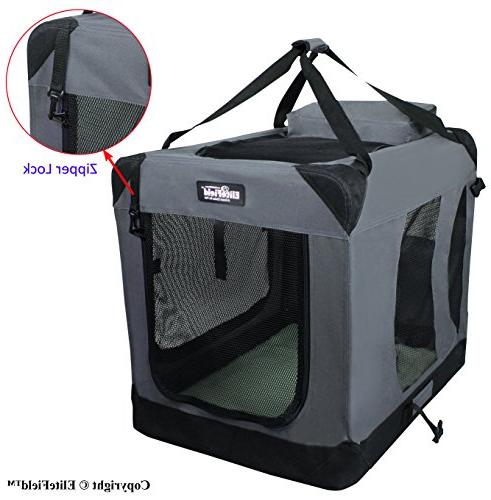 EliteField 3-Door Folding Soft Dog Crate, Outdoor Home, Sizes and