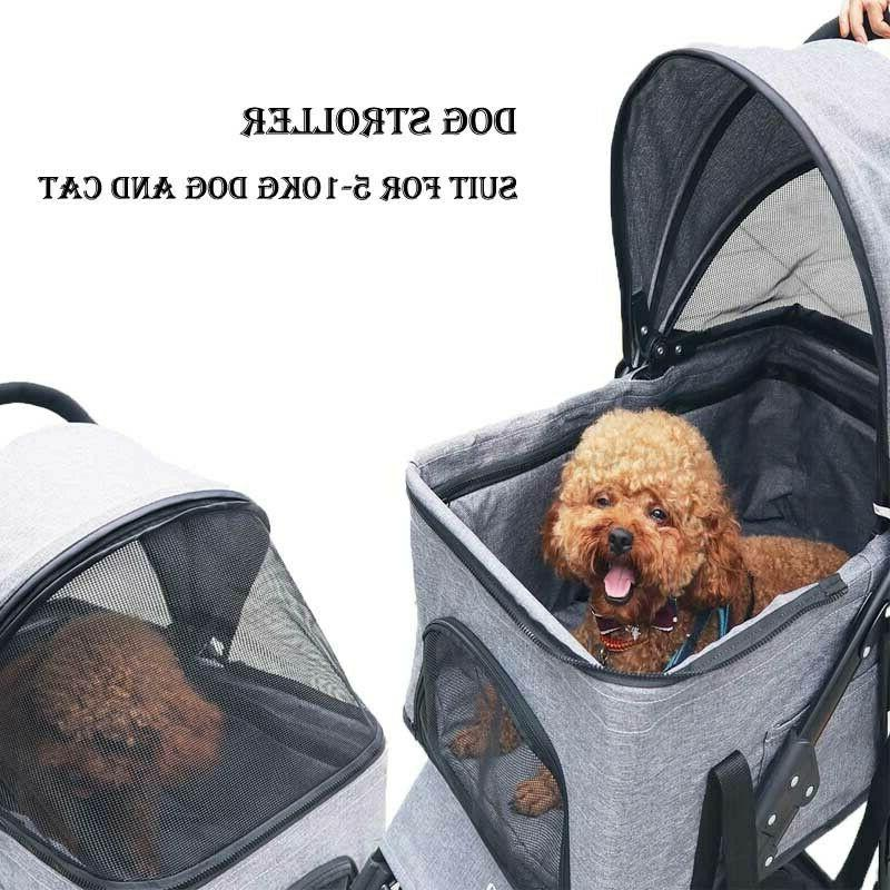 Pink Wheels Stroller Dog Cage Jogging Stroller Travel Carrier