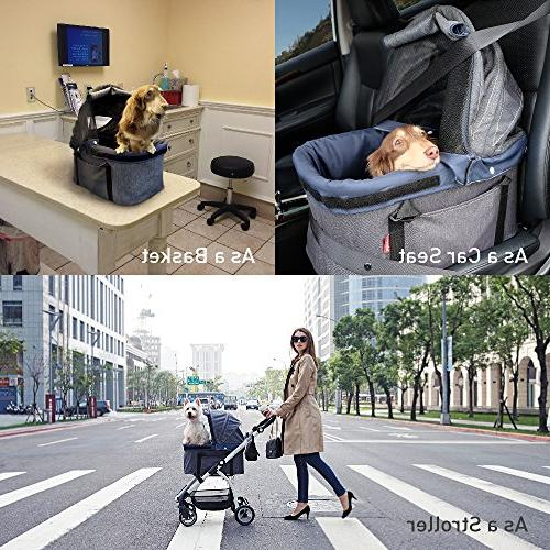 ibiyaya 4 Stroller for Dogs 3-in-1 Car + Stroller Travel One or Multiple and with Suspension