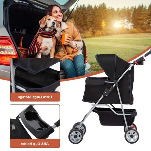 4 Wheels Cat Cage Travel Carrier
