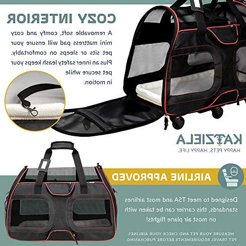 Katziela Airline Carrier for Small - Soft Windows, Leash Strap – Classic Design