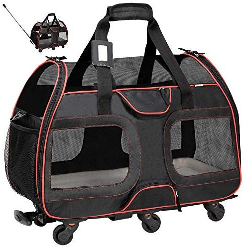 "Katziela Approved Carrier with Wheels for Small Dogs - Soft Sided, Leash Strap – 11""x22""x16"" Classic"