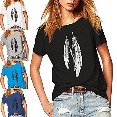 Feather Pattern T-Shirts Loose Tunic Top Shirts