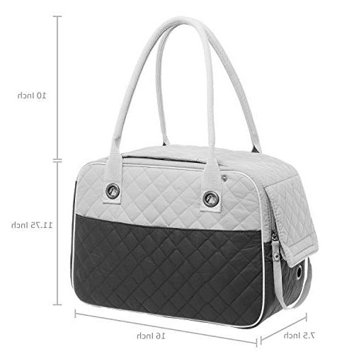 Inspired Stylish Quilted Soft Sided Dog and Cat Pet Carrier Tote Hand