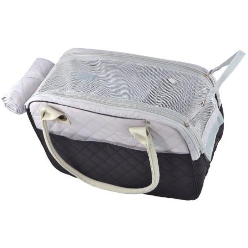 MG Black/Gray Inspired Quilted Soft Sided Travel Dog Cat Carrier Hand