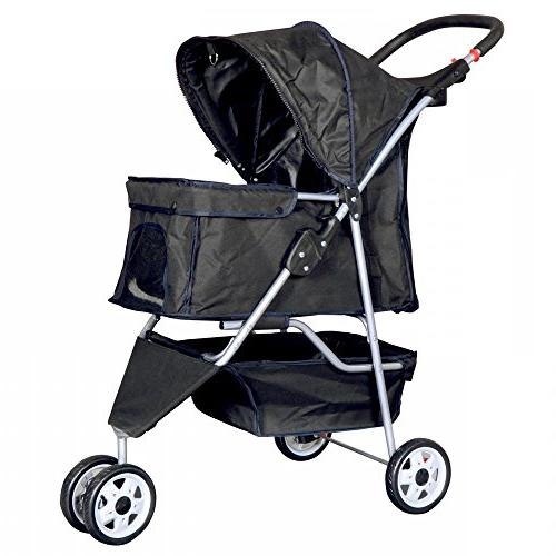 New Black Cat Dog Cage 3 Wheels Carrier T13