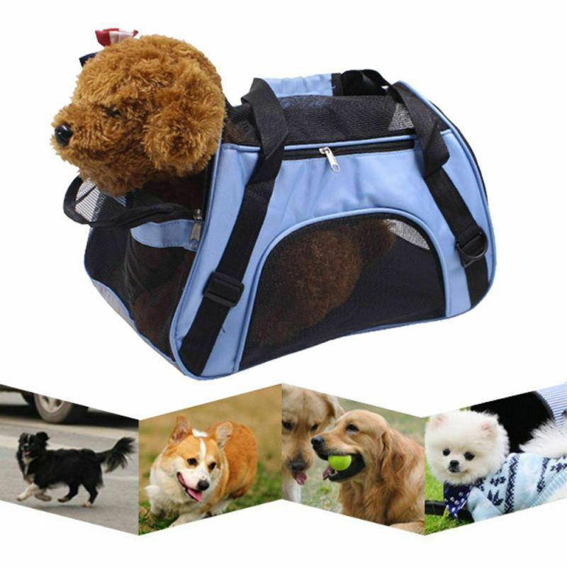 blue fabric pet carrier soft sided cat