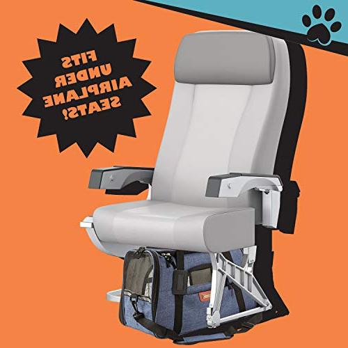Pawfect Pets Approved Pet Carrier Soft-Sided Cat Carrier and for Dogs and Cats, Fleece Mats.