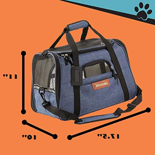 Pawfect Approved Pet Soft-Sided Cat Carrier and Carrier for Cats, Underneath Airplane Seat. Two Fleece Mats.