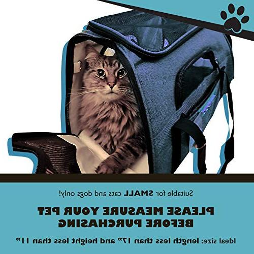 Pawfect Pet Carrier Soft-Sided Carrier and for Small Dogs Cats, Underneath Seat. Fleece Mats.