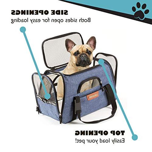 Pawfect Pets Pet Carrier Soft-Sided for Cats, Underneath Seat. with Fleece