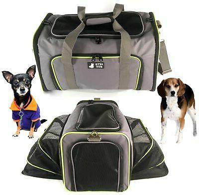 PETS - Approved Expandable Soft Animal Carriers - Soft-Sided Travel for Small Medium Dog and Cat