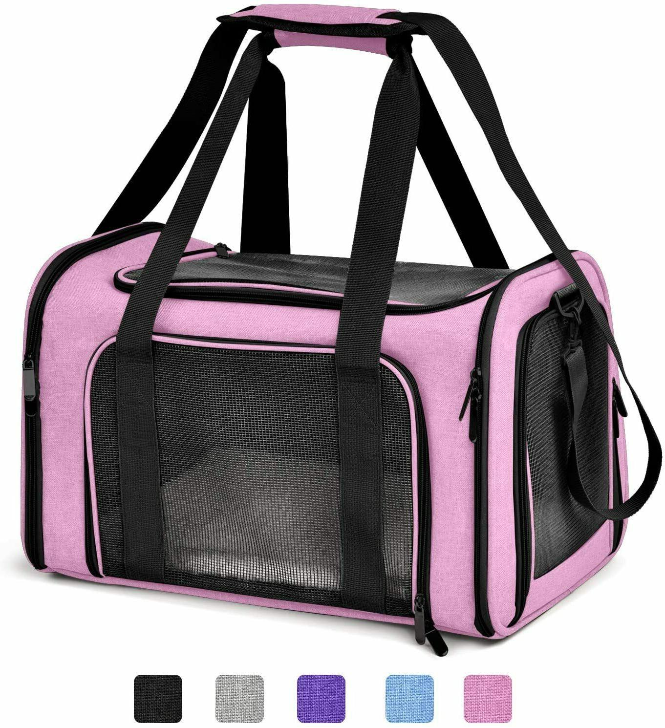 Pink Pet Travel Carrier Mesh Breathable Collapsible Dogs Pup