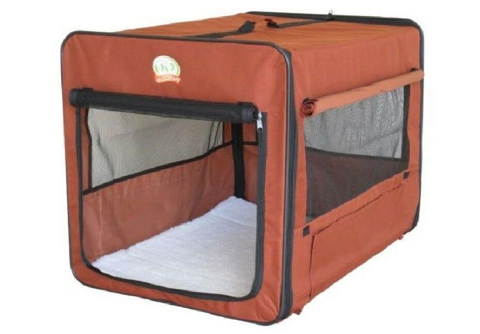 crate for large dog brown soft side