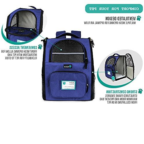 PetAmi Deluxe Pet Backpack for and Dogs, Ventilated Design, Two-Sided Safety and Back Support for Travel, Hiking, Outdoor